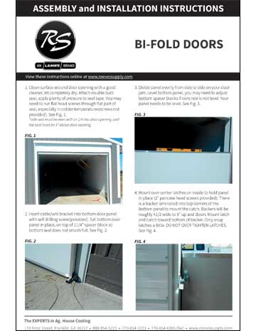 Reeves Supply Bi-Fold Doors Installation Manual