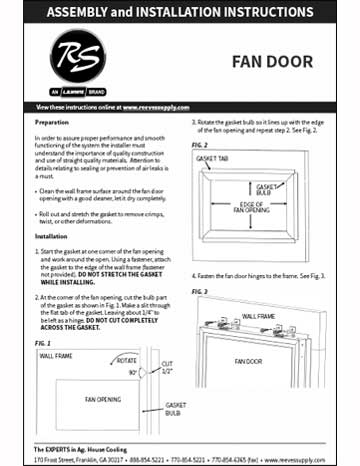Reeves Supply Fan Door Installation Manual