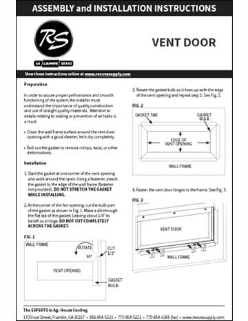 Reeves Supply Vent Door Installation Manual