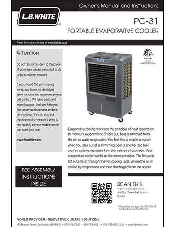 Portable Evaporative Cooler Manual